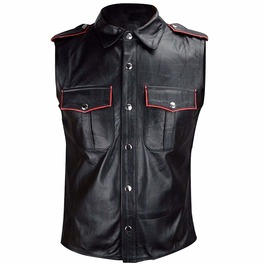 Gothic Mens Military Uniform Vest Sheep Leather Goth Hot Police Waistcoat