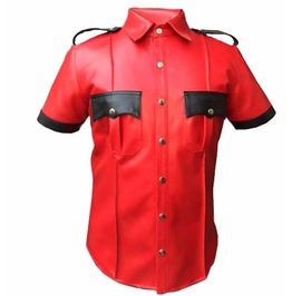 Mens Punk Gothic Rock Real Leather Red Shirt Fetish Club Shirt