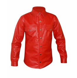 Punk Gothic Rock Real Leather Red Full Sleeve Shirt Fetish Club Shirt