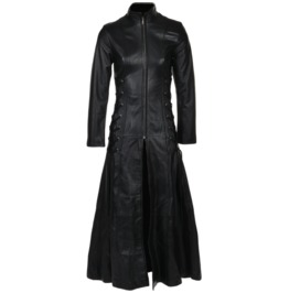 Gothic Women Full Length Genuine Leather Fashion Front Zipper Coat Dress