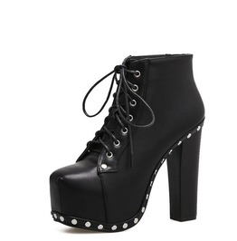 Lace Up Rivets Detail Thick High Heel Women Boots