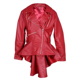 Women's Red Leather Coat Slim Fit Fashion Leather Jacket Genuine Leather Fr