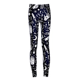 Harajuku Goth Design Print Mook Skull Bat Eye Starr Cross Womens Leggins