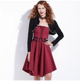 Long Sleeve Goth Burlesque Burgundylace Up Corset Midi Womens Dress
