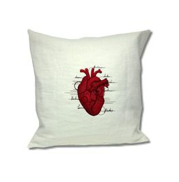 Anatomy Collection Linen Cushion Heart