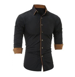 Men's Black Brown Trim Steampunk Button Up Dress Shirt