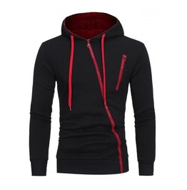 Men's Black Hoodie With Red Asymmetrical Zippers