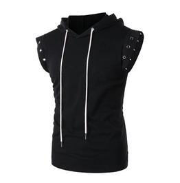Men's Black Goth Punk Hooded Vest With White Lace Up Back And Metal Eyelets