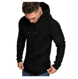 Men's Black Goth Punk Hoodie With Pleated Shoulders