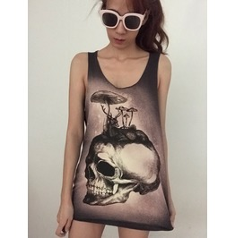 Skull Streetwear Indie Fashion Pop Unisex Tank Top Vest M