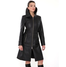 Genuine Leather Women Steampunk Coat Black Fetish Knee Length Kink Dress