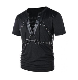 Men's Black Goth Fetish Bondage Strap Faux Leather Lace Up O Ring T Shirt