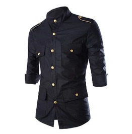 Men's Black Retro Military 3/4 Sleeve Epaulet Collared Button Up Shirt