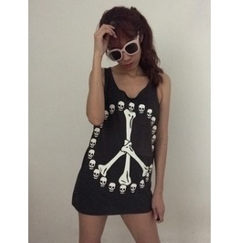 Skeleton Skull Fashion Punk Pop Rock Unisex Tank Top Vest M
