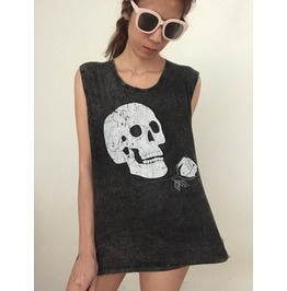 Skull Roses Stone Wash Fashion Pop Vest Tank Top M