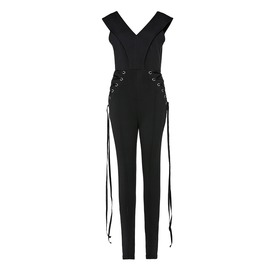 Lace Up Goth Sleeveless Zipper Goth Womens Pencil Pants Jumpsuit Romper