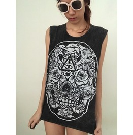 Skull Goth Stone Wash Fashion Pop Vest Tank Top M