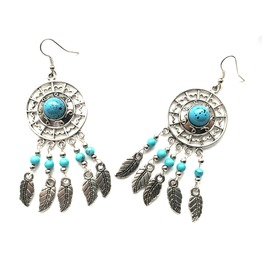 Cool Dream Catcher Native American Design Style Silver Metal Leaf Earrings