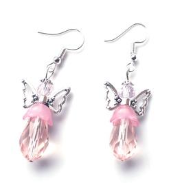 Beautiful Handmade Pink Angels Crystal Bead Earrings 925 Silver Hooks