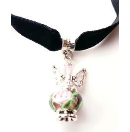 Cool Black Velvet Choker Necklace With Handmade Crystal Glass Bead Angel