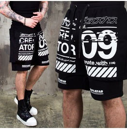 Double Layered Lettering Printed Banding Shorts 103