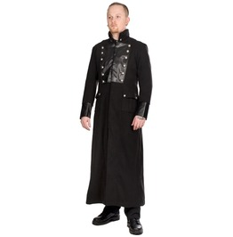 Gothic Long Trench Jacket Men Steampunk Military Vintage Wool Long Coat