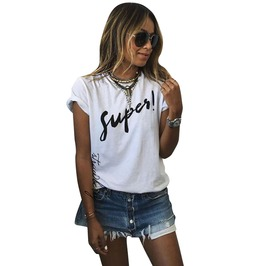 "Cool Women's Short Sleeve Round Neck ""Super"" Tee"