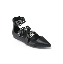 Killstar Banshee Black Witch Wincklepickers Shoes Pointed Pentagram Flats
