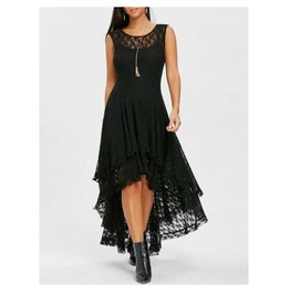 Women's Black Lace Dovetail Tapered Hem Goth Summer Dress