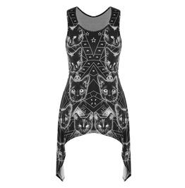 Sleeveless Asymmetric Black Cat Print Tops