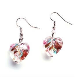 Beautiful! Hand Crafted Clear Heart Shaped Glass Earrings With Rose
