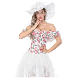Vintage Sweet Women's Printing Off Shoulder Short Sleeves Overbust Corset