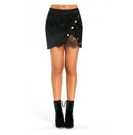 Women's Black Goth Skirt Asymmetrical Lace And Button Details