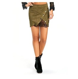 Women's Army Green Goth Skirt Asymmetrical Lace And Button Details