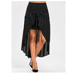 Women's Black Long Flowing 2 Layer Goth Skirt