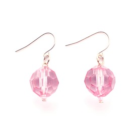 Pretty Small Plastic Pink Crystal Ball Bead Earrings With Gold Metal Hooks