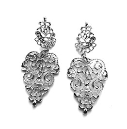 Eye Catching Authentic Antique Asian Design Silver Metal Style Earrings