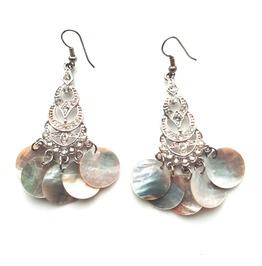 Pretty Authentic Vintage Silver Metal Diamante Earrings With Shell Discs
