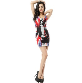 Rock Style Print Bodycon Dress Tank Tops