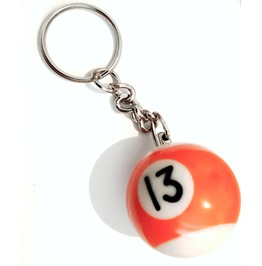 Super Cool! Miniature Orange And White Snooker Ball Keyring No 13