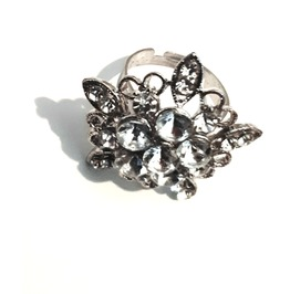 Ace Silver Metal Large Diamante Star Flower Design Adjustable Ring Size 7.5