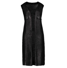 Sleeveless Knit Long Vest With Pockets Details Women's Top