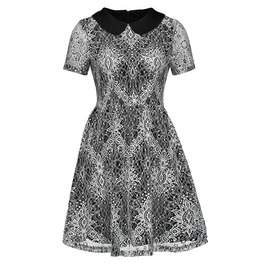 Gothic Short Sleeve Zip Up White Lace Women's Midi Skater Dress With Collar