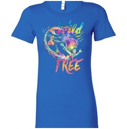 Wild And Free Mermaid Fantasy Art Color Ladies Rainbow Shirt
