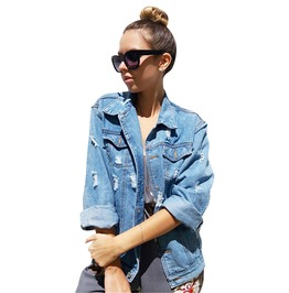 Ripped Light Washed Denim Jean Jacket