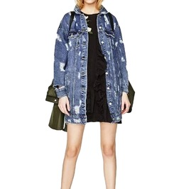 Oversize Distressed Vintage Denim Jeans Jacket