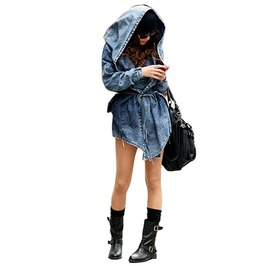 Vintage Oversize Long Sleeve Hooded Denim Coat
