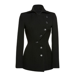 Long Sleeve Coat Fall And Spring With Asymmetric Buttons Women's Outerwear
