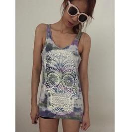 Skull Fashion Punk Pop Rock Tie Dye Vest Tank Top