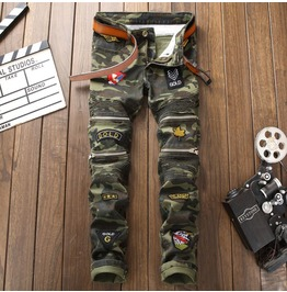 Multi Zipper Pockets Men's Cargo Camouflage Pants Badges Patchwork